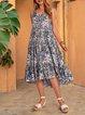 Blue Sleeveless Paneled Swing Dresses