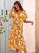 Yellow Paneled V Neck Boho Dresses