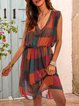 Orange Casual V Neck Checkered/plaid Dresses