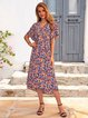 Purplish Blue Cotton-Blend Casual Short Sleeve Dresses