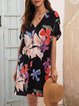 Black Floral Paneled Boho Dresses