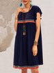 Blue Paneled Holiday A-Line Plain Dresses
