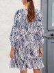 Blue Cotton-Blend Holiday Shift V Neck Dresses