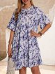 Blue Casual Tropical Paneled Dresses