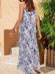 Blue Paneled Plain Casual Cotton-Blend Dresses