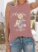 Casual summer loose sleeveless print T-shirt