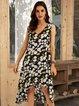 Black-Green Floral Casual Cotton-Blend V Neck Dresses