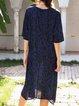 Blue Snakeskin Half Sleeve Shift Dresses