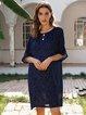 Blue Shift Cotton-Blend Short Sleeve Plain Dresses
