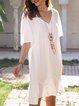 White Short Sleeve Cotton-Blend Dresses
