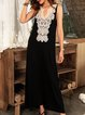 Black A-Line Cotton-Blend V Neck Sleeveless Dresses
