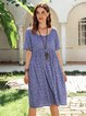 Blue Casual Polka Dots V Neck Shift Dresses