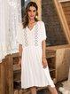 White Paneled Short Sleeve A-Line V Neck Dresses