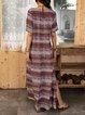 Brown Cotton-Blend Boho A-Line Short Sleeve Dresses