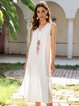 White Boho Cotton-Blend Plain Swing Dresses