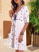 White Floral Half Sleeve Cotton-Blend Printed Dresses