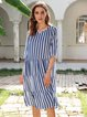 Blue Half Sleeve Striped Cotton-Blend Dresses
