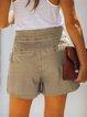 Casual Plain Buttoned Pockets Short Pants
