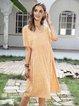 Yellow Casual Swing Short Sleeve Dresses