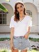 White Paneled Casual V Neck Cotton-Blend Shirts & Tops