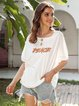 White Crew Neck Cotton-Blend Short Sleeve Letter Shirts & Tops