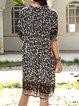 Black Paneled Short Sleeve Floral Crew Neck Dresses