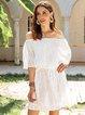White Short Sleeve Off Shoulder Dresses