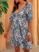 Blue Half Sleeve Printed Dresses