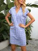 Blue Short Sleeve Geometric Paneled Dresses