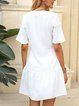 White Plain Short Sleeve A-Line V Neck Dresses