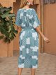 Green Cotton-Blend Casual Paneled V Neck Dresses
