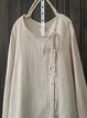 Apricot Plain Casual Round Neck Long Sleeve Shirts & Tops