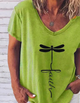 Green Casual Letter V Neck Cotton Shirts & Tops