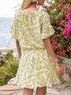 Apricot Geometric Short Sleeve Floral-Print V Neck Mini Dresses