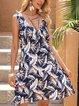 Blue V Neck Short Sleeve Paneled A-Line Dresses