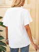 White Paneled Short Sleeve Cotton-Blend Shirts & Tops