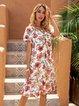 Black Floral-Print Short Sleeve V Neck Swing Dresses