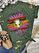 Dark Green Short Sleeve Floral-Print Shirts & Tops