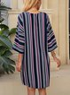 Black Striped A-Line 3/4 Sleeve Floral-Print Dresses