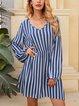 Blue Cotton-Blend Long Sleeve Dresses