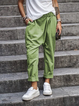 Women Solid Pockets Casual Cotton Pants