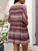Brown Casual A-Line Printed Tribal Dresses