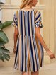 Yellow Striped Paneled Short Sleeve Crew Neck One-Pieces