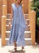 Blue V Neck Casual Cotton-Blend Polka Dots Dresses