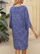Blue Abstract A-Line Casual V Neck Dresses