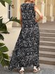 Black Sleeveless A-Line Casual Floral Dresses
