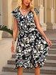 Black Floral Boho Short Sleeve Dresses