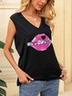 Black Cotton-Blend Casual Bateau/boat Neck Shirts & Tops