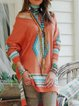 Watermelon Color-Block Off Shoulder Knitted Boho Sweater