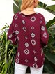 Wine Red V Neck Geometric Boho Printed Shirts & Tops